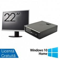 Pachet Calculator HP 6300 SFF, Intel Core i5-2400 3.10GHz, 4GB DDR3, 250GB SATA, 1 Port Com + Monitor 22 Inch + Windows 10 Home