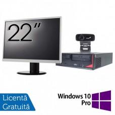 Pachet Calculator Fujitsu E410, Intel Core i3-3220 3.30GHz, 4GB DDR3, 500GB SATA + Monitor 22Inch + Webcam + Tastatura si Mouse + Windows 10 Pro