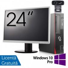 Pachet Calculator Fujitsu Esprimo D756 SFF, Intel Core i5-6400T 2.20GHz, 8GB DDR4, 120GB SSD, DVD-RW + Monitor 24 Inch + Webcam + Tastatura si Mouse + Windows 10 Pro