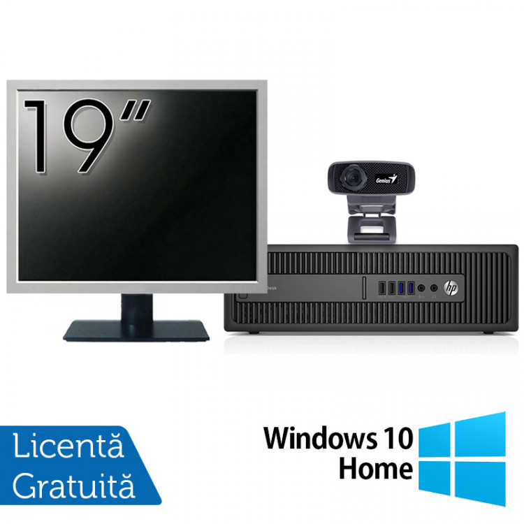 Pachet Calculator HP 800 G2 SFF, Intel Core i5-6500 3.20GHz, 8GB DDR4, 240GB SSD + Monitor 19 Inch + Webcam + Tastatura si Mouse + Windows 10 Home