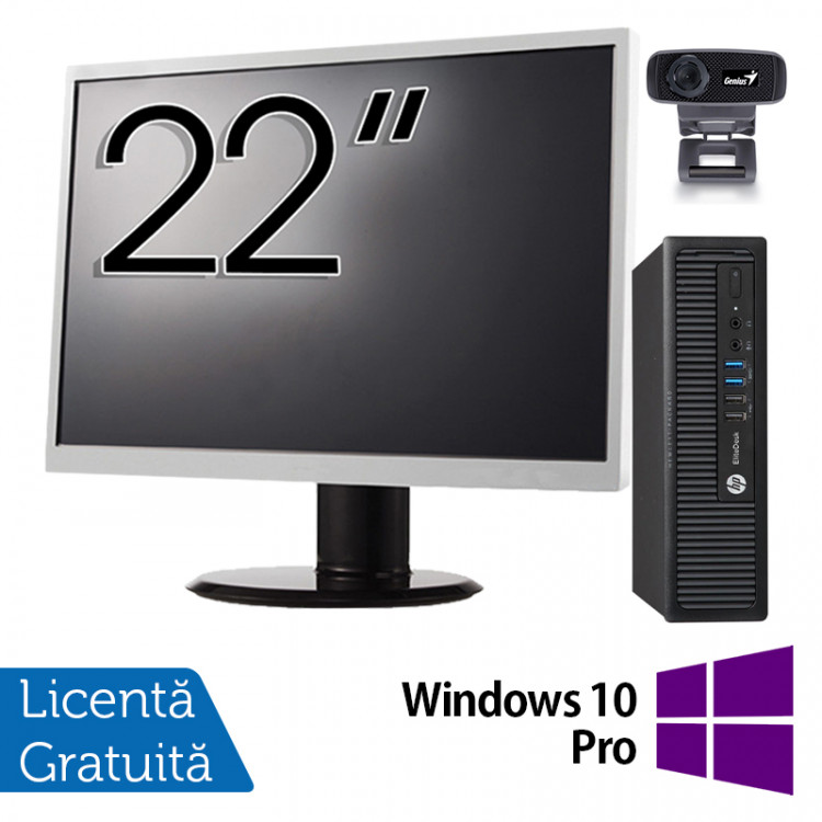 Pachet Calculator HP 800 G1 USDT, Intel Core i5-4590s 3.00GHz, 8GB DDR3, 500GB SATA + Monitor 22 Inch + Webcam + Tastatura si Mouse + Windows 10 Pro