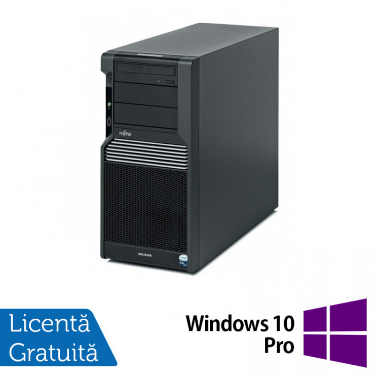 Workstation Fujitsu CELSIUS M470, Intel Xeon Quad Core W3503 2.40GHz, 8GB DDR3, 2 x 500GB SATA, Placa Video nVidia NVS450/512MB, DVD-RW + Windows 10 Pro